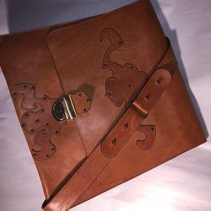 auth DESIGNER ORIGINAL saddle leather CROSSBODY